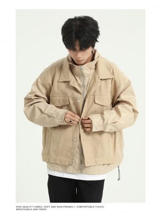 男裝 假兩件工裝夾克寬鬆外套  M-XL