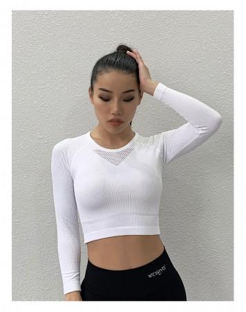運動緊身顯瘦長袖健身露馬甲修身衣 跑步瑜珈健身衣  S - L