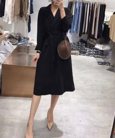 [現貨] 超有質感風衣洋裝<黑色> small ki