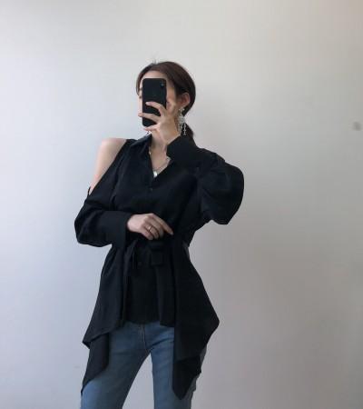 韓國chic百搭時髦氣質露腰個性襯衫  small ki