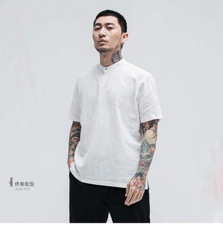 男士立領百搭純色短袖襯衫  M-5XL  SMALL KI