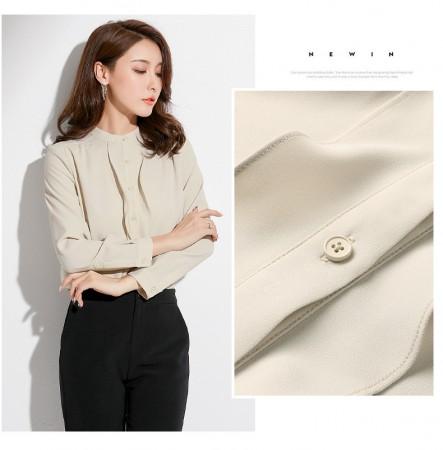 韓版氣質立領荷葉邊優雅雪紡襯衫  S-XL  SMALL KI