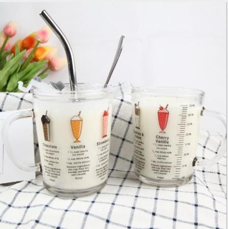 冰淇淋刻度玻璃加厚把手牛奶杯  350ml small ki