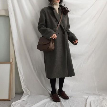 經典百搭高級灰色  雙排扣翻領口袋挺版大衣
