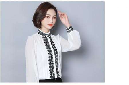 [現貨] 刺繡立領燈籠袖雪紡氣質襯衫  附背心  白色 M號  SMALL KI