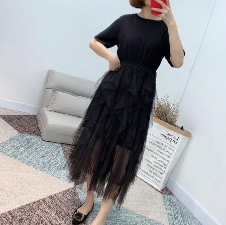 異材質拼接層次感紗裙洋裝  small ki