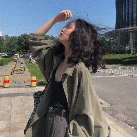 秋季新款韓版流行風衣外套工裝款百搭襯衫 small ki