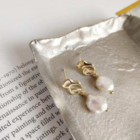 S925純銀  不規則珍珠典雅氣質耳環