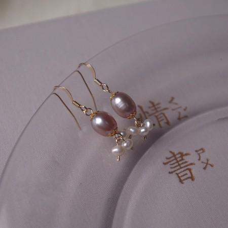 手工天然淡水氣質淡紫色耳環/耳針/耳夾  small ki