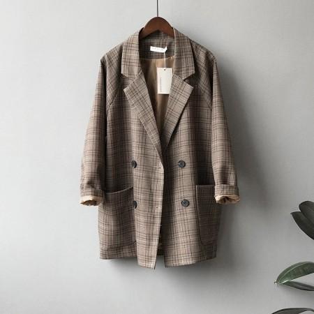 復古休閒寬鬆格子雙排扣西裝外套 M-L SMALL KI