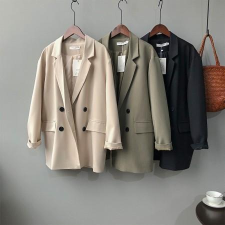 春季新款chic寬鬆顯瘦休閒雙排扣氣質單色系西裝外套  M L