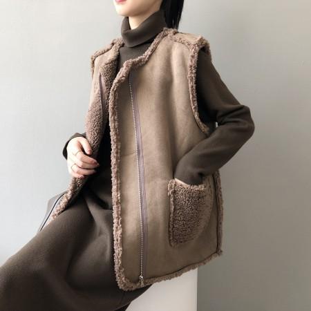 秋冬新款寬鬆正反面都可穿高羊毛背心外套 M-L