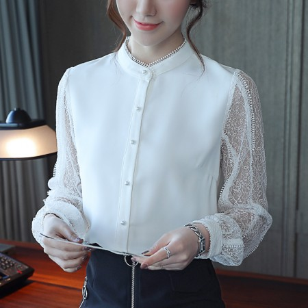 蕾絲袖珍珠釦氣質立領襯衫  s-xl  small ki