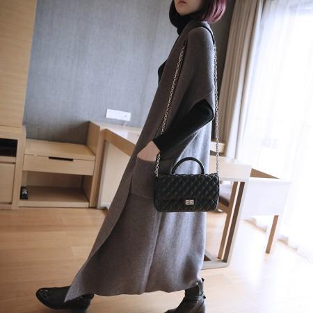 秋冬新款針織衫女裝 韓版無袖寬鬆針織開衫  長款氣質毛衣外套