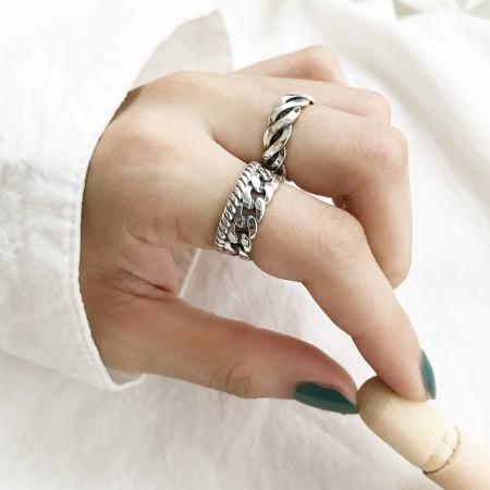 S925純銀  麻花鎖鍊開口戒指  不分戒圍戒指  small ki