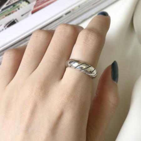 S925純銀 簡約開口大麻繩戒指  不分戒圍戒指  SMALL KI