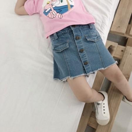 [[零碼特價出清]] small kids 假兩件鬆緊腰牛仔裙  女童裝 small ki