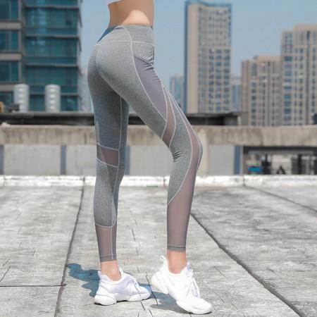 夏季透氣拼接網紗彈力提臀中腰快乾健身褲運動褲瑜珈褲  S - L