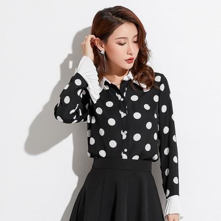 精品女裝氣質OL喇叭袖波點襯衫  S-XL  SMALL KI