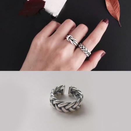 S925純銀  粗麻花個性開口戒指   不分戒圍戒指  small ki