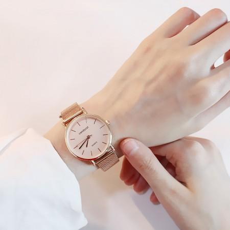 韓版個性石英女錶鋼帶防水手錶  small ki
