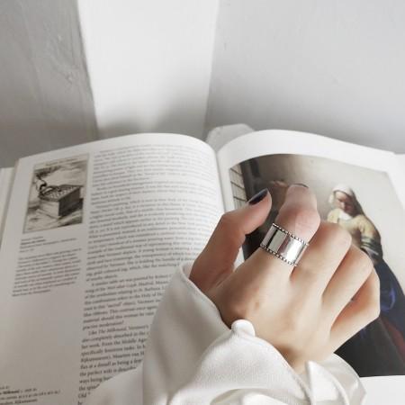 S925純銀  寬版簡約個性開口戒  不分戒圍戒指  small ki