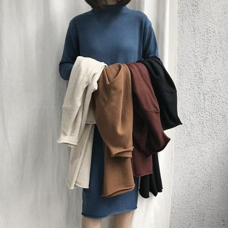 冬季基本款超推薦  半高領針織長版洋裝   small ki
