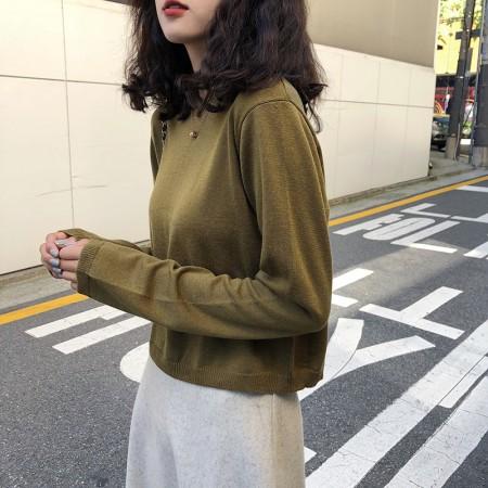 韓版秋季圓領voersize寬鬆針織百搭純色針織衣  small ki