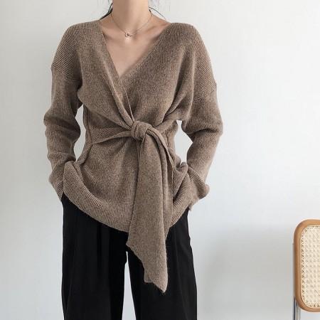 韓國CHIC針織V領綁腰慵懶上衣   small ki