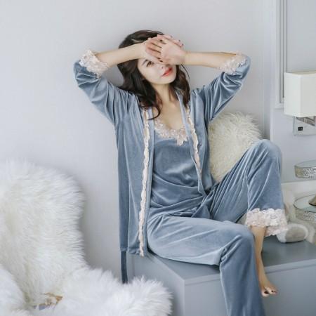 就算是睡衣也不能輸人阿~~冬季韓國三件式性感吊帶+外袍+褲子性感爆炸睡衣  S-4XL small ki