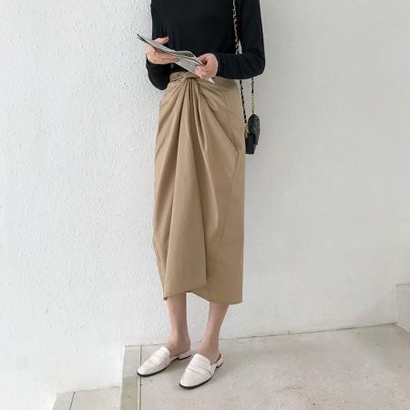 復古半高腰繫帶打結造型長裙  small ki