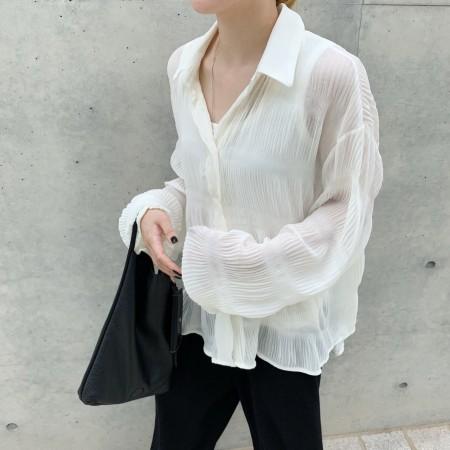 秋裝新款小眾設計皺紋設計寬鬆長袖襯衫  small ki