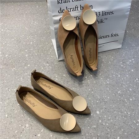金屬扣尖頭平底鞋  35-39  small ki