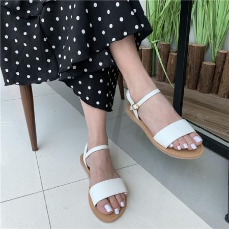 韓版仙女百搭一字帶羅馬平底涼鞋  35-39  SMALL KI