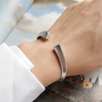 s925純銀  開口柱型磨砂款個性手環