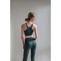 高腰運動套裝 胸前網紗扭結背心 背心 + 褲子S~L SMALL KI