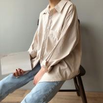 棉感做舊春季廓型長袖襯衫 S-L