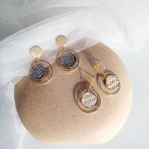 時尚創意幾何草蓆裝飾耳環/耳針/耳夾   small ki