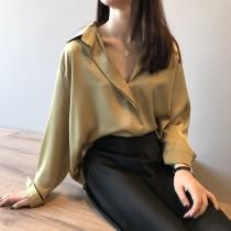 氣質綢緞面質感襯衫 S-L SMALL KI