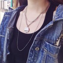 [現貨] 韓風幾合金屬鎖鍊雙層頸鍊 small ki