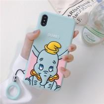[現貨] I PHONE 手機殼 矽膠軟殼小飛象/附掛繩  淺藍色