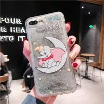 I PHONE 手機殼 銀色流沙亮片小飛象