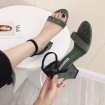 夏季新款 一字韓版粗跟簍空跟鞋涼鞋 34-39  small ki
