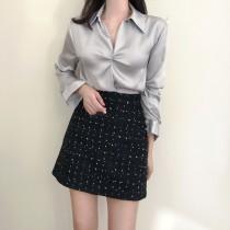 [現貨] 正式感滿分緞面扭結寬鬆襯衫 灰色M號一件  small ki