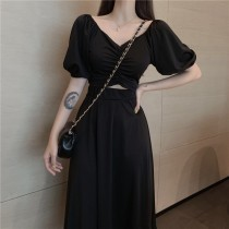 典雅v領假兩件式高腰洋裝  SMALL KI
