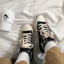 [ 買二送一 ] 復古線條滾邊高筒帆布鞋  粉色  黑色  35-40
