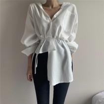 韓版設計師款時尚綁腰不規則棉麻襯衫  small ki