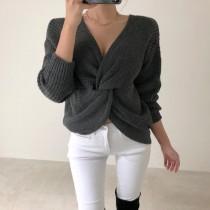 [現貨] 韓版東大門新款秋季前後兩穿簡約設計感露肩針織衣