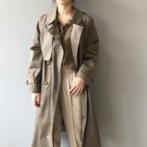 韓版腰帶雙排釦寬鬆風衣過膝大衣  M-L SMALL KI