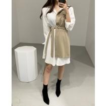 韓國秋季chic氣質優雅翻領撞色假兩件綁帶襯衫洋裝   small ki